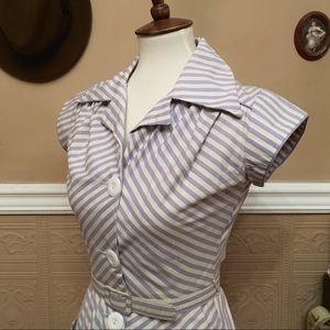 🖤 1960s Lavender Striped Day Dress, True Vintage